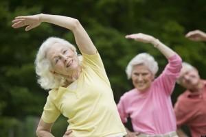 USA, New York State, Old Westbury, Seniors stretching in park