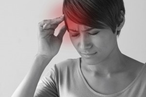 sick woman with pain, headache, migraine, stress, insomnia