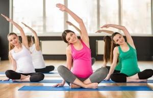 pregnant women in yoga class