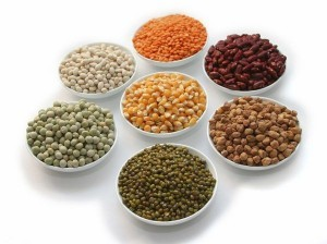 Display of food grains in white bowls