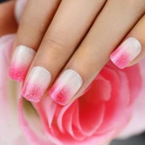 bling-art-false-nails-french-manicure-pink-sparkle-24-full-cover-medium-tips-uk