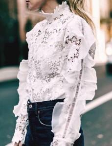 Dantelli Beyaz Gömlek Kombinasyonları 3
