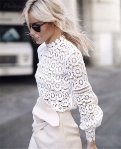 Dantelli Beyaz Gömlek Kombinasyonları 17